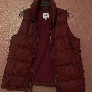 Maroon puffy vest women's